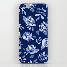 Hand painted navy blue white watercolor floral roses pattern iPhone Skin
