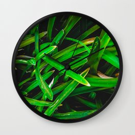 closeup green leaves texture background Wall Clock