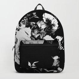 Black and White Retro Roses Backpack