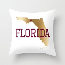 Florida Gold and Garnet with State Capital Typography Throw Pillow