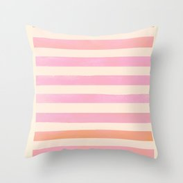 Pink Brush Lines Throw Pillow