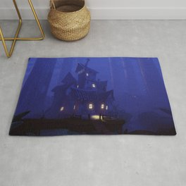 Spectacular Impressive Scary Mansion In Petrifying Woods Dreamy UHD Rug