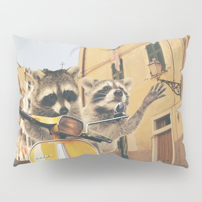 Raccoons on the road trip Pillow Sham