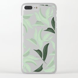 Abstract modern green pastel color leaves floral Clear iPhone Case