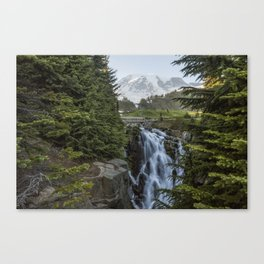 Mount Rainier and Myrtle Falls, Late Afternoon Canvas Print