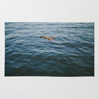 ducks Area & Throw Rugs featuring ducks. by Justine Montigny