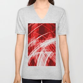 Explosive fibers of light threads with red energy of futuristic abstraction. Unisex V-Neck