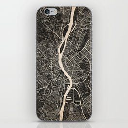 budapest map ink lines iPhone Skin