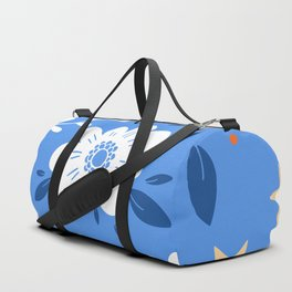 Flowers and butterflies Blue Pattern Duffle Bag