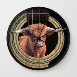 Guitar Highland cow Fantasy Collage Music #guitar #highlandcow Wall Clock
