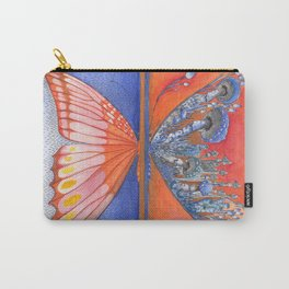 Butterfly / Mushroom in Bright Orange and Blue Combo Carry-All Pouch