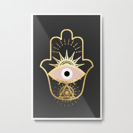 gold foil hamsa hand with blush pink Metal Print