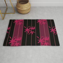 Striped floral maroon and black pattern with lillies Rug