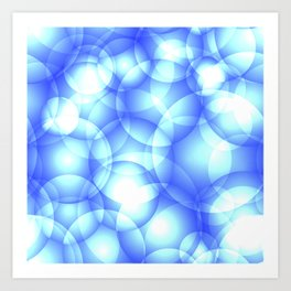 Gentle intersecting blue translucent circles in pastel colors with a heavenly glow. Art Print