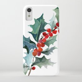 Holly Branch Merry Christmas  iPhone Case