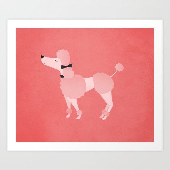 Posh Pink Poodle Art Print