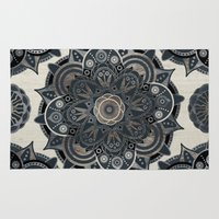 islam Area & Throw Rugs featuring Silver Mandala by Mantra Mandala
