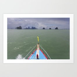 Thai boat and limestone islands Art Print