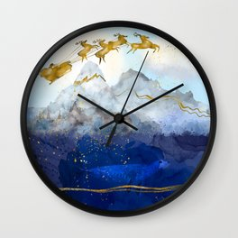 Santa Claus & His Reindeer over the North Pole Wall Clock