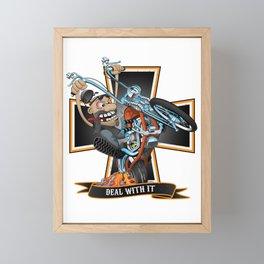 Deal with it -  funny biker riding a chopper, popping a wheelie motorcycle cartoon Framed Mini Art Print
