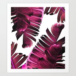 Banana Leaf - Tropical Leaf Print - Botanical Art - Modern Abstract - Violet, Purple, Magenta, Lilac Art Print