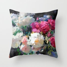 Still Life with White & Pink Roses Throw Pillow