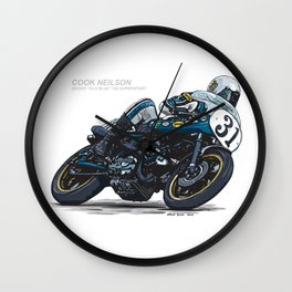 "Cook Neilson & Ducati ""Old Blue"" 750 Supersport Vintage Motorcycle Artwork Wall Clock"