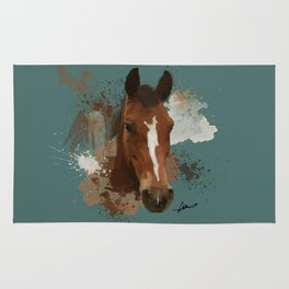 Brown and White Horse Watercolor Dark Rug