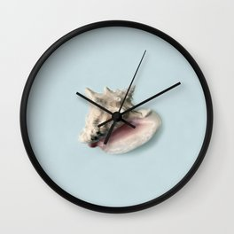 Beige and Pink Shell on Aqua Blue Wall Clock