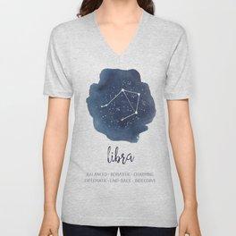 Libra Constellation Zodiac Print Unisex V-Neck
