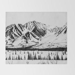 Black and White Mountains Throw Blanket