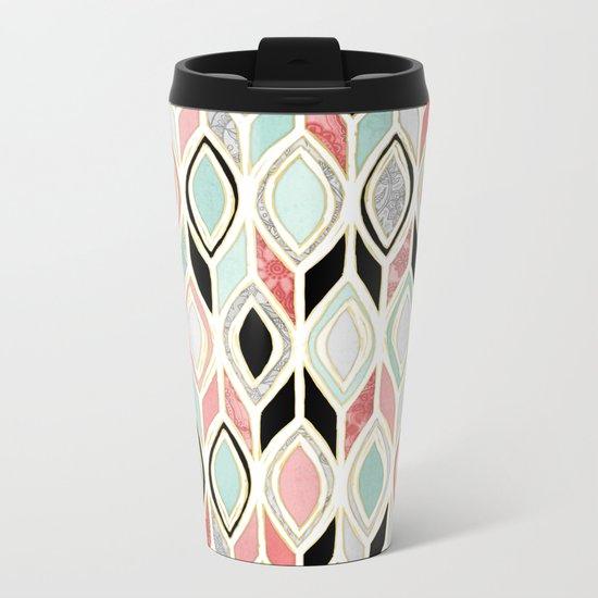 Patchwork Pattern in Coral, Mint, Black & White Metal Travel Mug