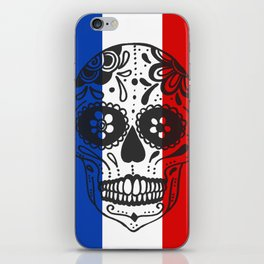 Mexican Skull With French Flag iPhone Skin