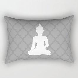 Grey and White Buddha Rectangular Pillow