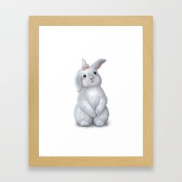 White Rabbit Girl isolated Framed Art Print
