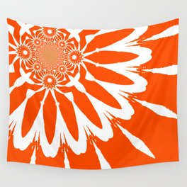 The Modern Flower Orange Wall Tapestry