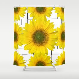 Sunflowers on a squar pattern white background #decor #society6 Shower Curtain