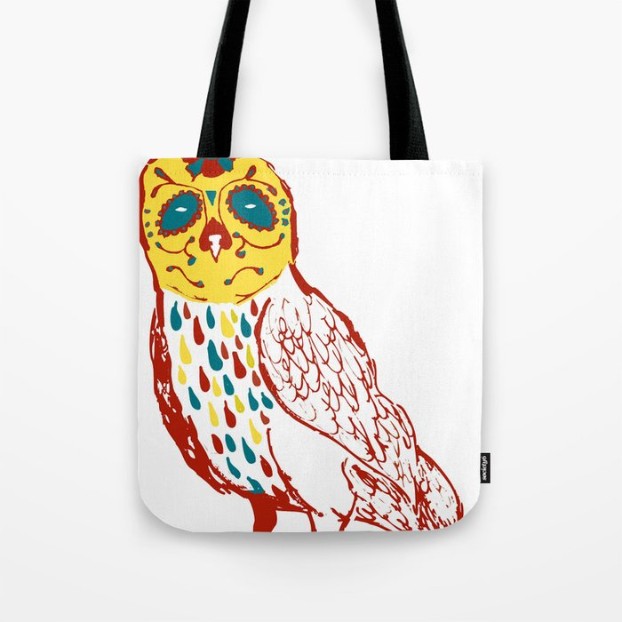 Sugar Skull Owl Tote Bag