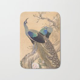 A Pair of Peacocks in Spring - Japanese Painting Bath Mat