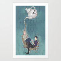 johnlock Art Prints featuring Johnlock Teatime by enerjax