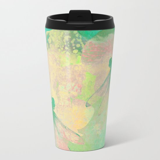 Green Painting Dragonflies Metal Travel Mug