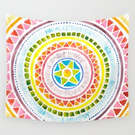 Rainbow Chakra Watercolor Mandala Wall Tapestry