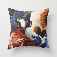 optimus prime Throw Pillows featuring Optimus Prime With Sunflower by Hillary White