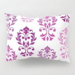 Heart Damask Art I Pinks Plums White Pillow Sham