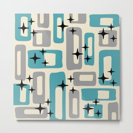 Retro Mid Century Modern Abstract Pattern 223 Blue and Gray Metal Print