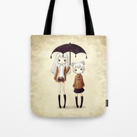sisters Tote Bags featuring Sisters by Freeminds