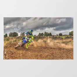 Blue and green Motocross action biker Rug