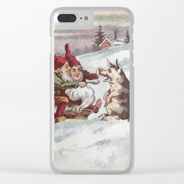 Christmas Card from Sweden, 1800s Clear iPhone Case