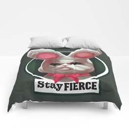 Stay fierce cute grumpy white plushy rabbit Comforters