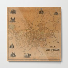 Map of Salem 1851 Metal Print
